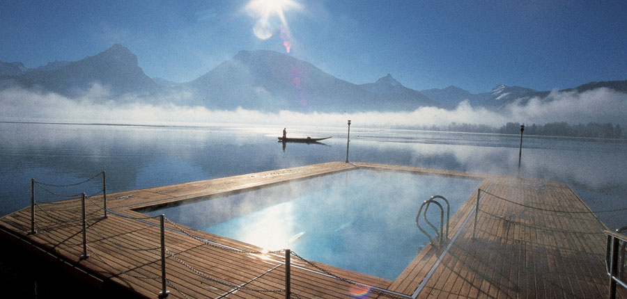 Romantik Hotel Weisses Rössl, St. Wolfgang, Salzkammergut, Austria - Heated outdoor lake pool..jpg
